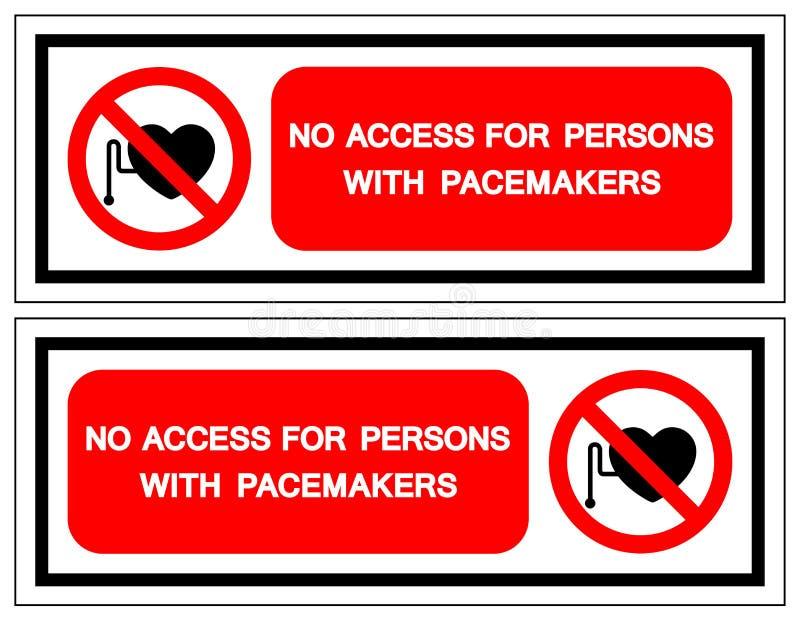 Aucun Access pour des personnes avec le signe de symbole de stimulateurs, illustration de vecteur, isolat sur le label blanc de f illustration de vecteur