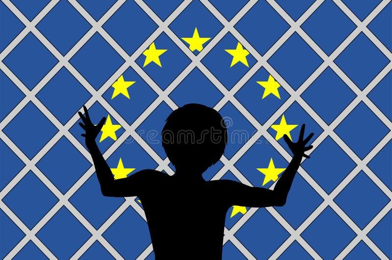 Aucun accueil pour des migrants illustration de vecteur