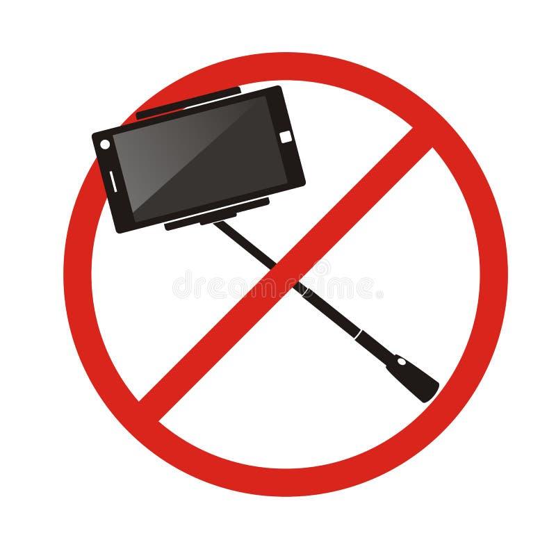 Aucun bâtons de selfie N'employez pas le signe interdit par selfie de monopod illustration de vecteur