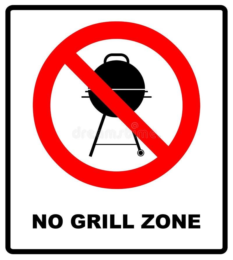 Aucun BBQ permis - signe d'interdiction Bannière d'avertissement de vecteur illustration de vecteur