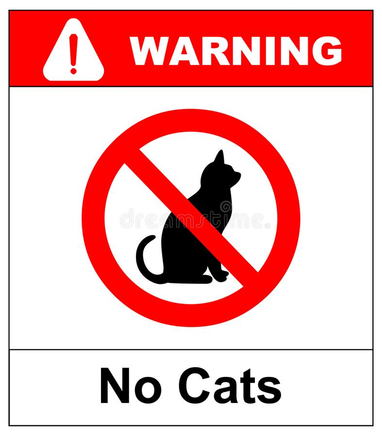 Aucun chats Interdisant l'emplacement de signe ou l'entrée des animaux familiers en ce moment ou du territoire illustration libre de droits