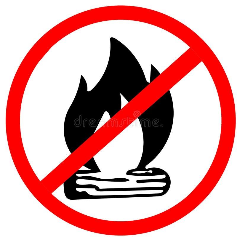 Aucun feu, aucun panneau routier rouge de précaution de cercle interdit par feu de feu de camp d'isolement sur le fond blanc illustration libre de droits