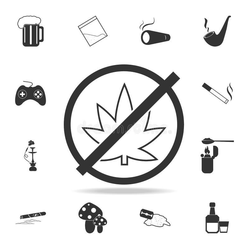 Aucun iconSet de cannabis d'icône humaine de faiblesse et d'élément de dépendance Conception graphique de qualité de la meilleure illustration stock
