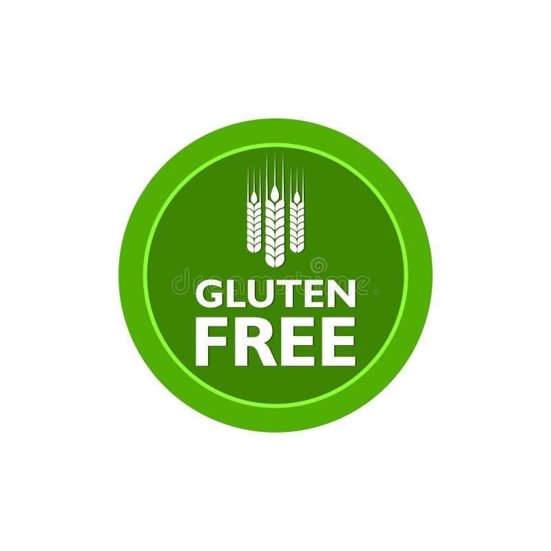 Aucun label libre de gluten, de nourriture de gluten ou ic?ne plate d'autocollant illustration libre de droits