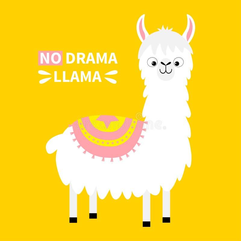 Aucun lama de drame Animal d'alpaga Caractère drôle de kawaii de bande dessinée mignonne Collection puérile de bébé T-shirt, cart illustration de vecteur