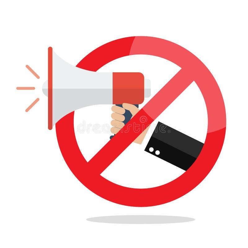 Aucun mégaphone ou aucun signe d'interdiction de haut-parleur illustration de vecteur