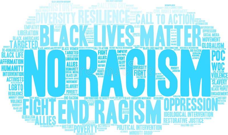 Aucun nuage de Word de racisme illustration stock