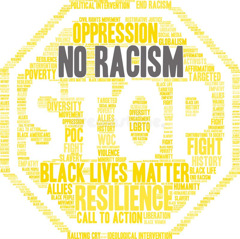 Aucun nuage de Word de racisme illustration libre de droits