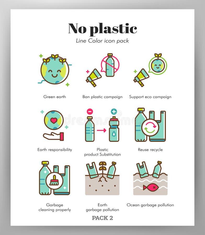 Aucun paquet en plastique de LineColor d'icônes illustration de vecteur