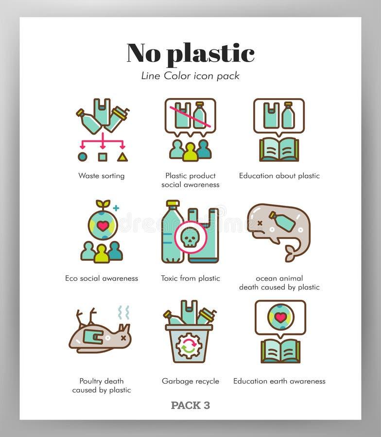 Aucun paquet en plastique de LineColor d'icônes illustration libre de droits
