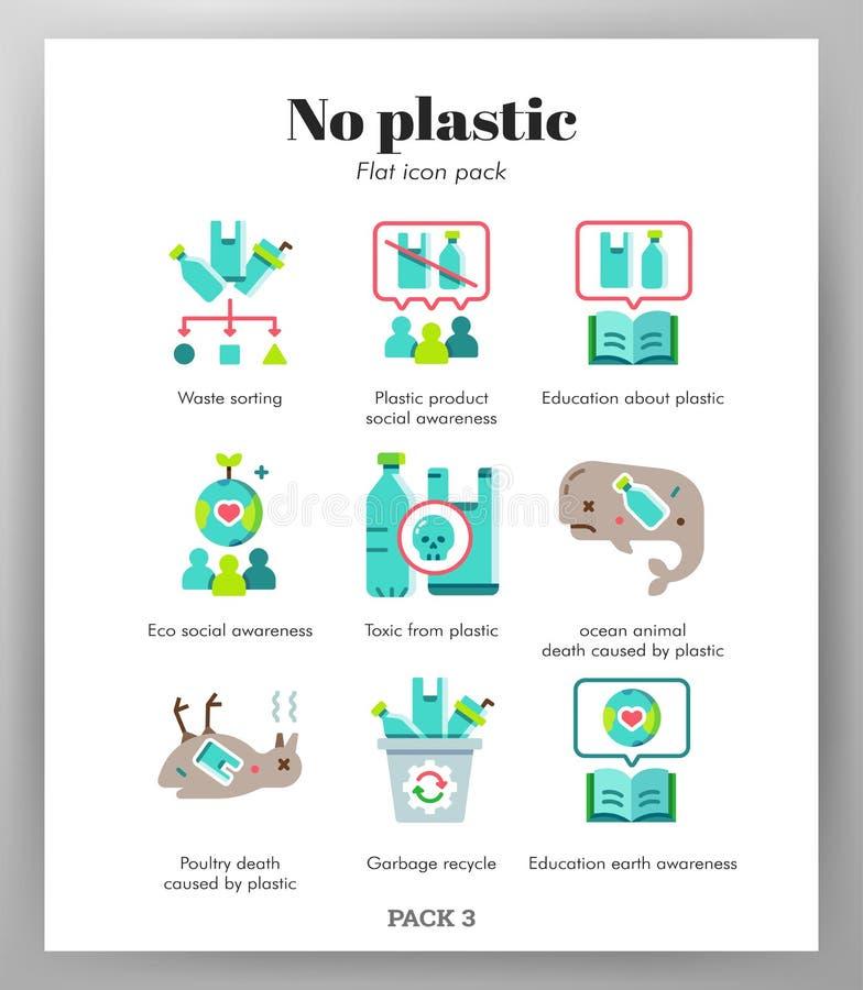 Aucun paquet plat d'icônes en plastique illustration stock