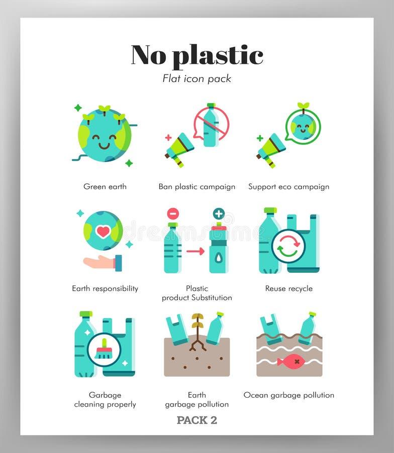 Aucun paquet plat d'icônes en plastique illustration libre de droits