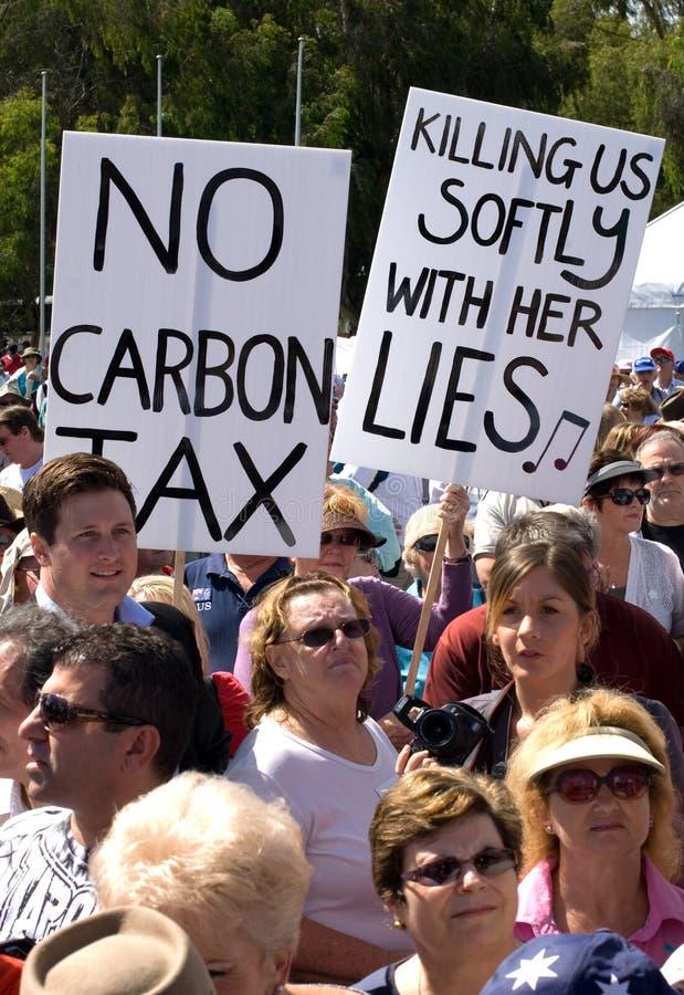 Aucun rassemblement d'impôts de carbone photographie stock