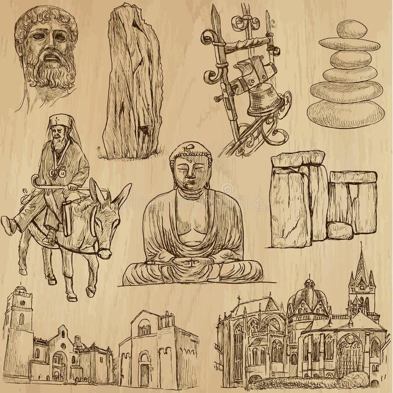 Aucun religieux 4 - Paquet de vecteur, dessins de main illustration de vecteur
