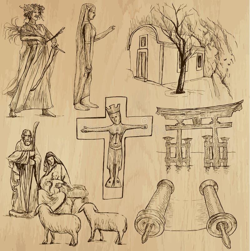 Aucun religieux 10 - Paquet de vecteur, dessins de main illustration libre de droits