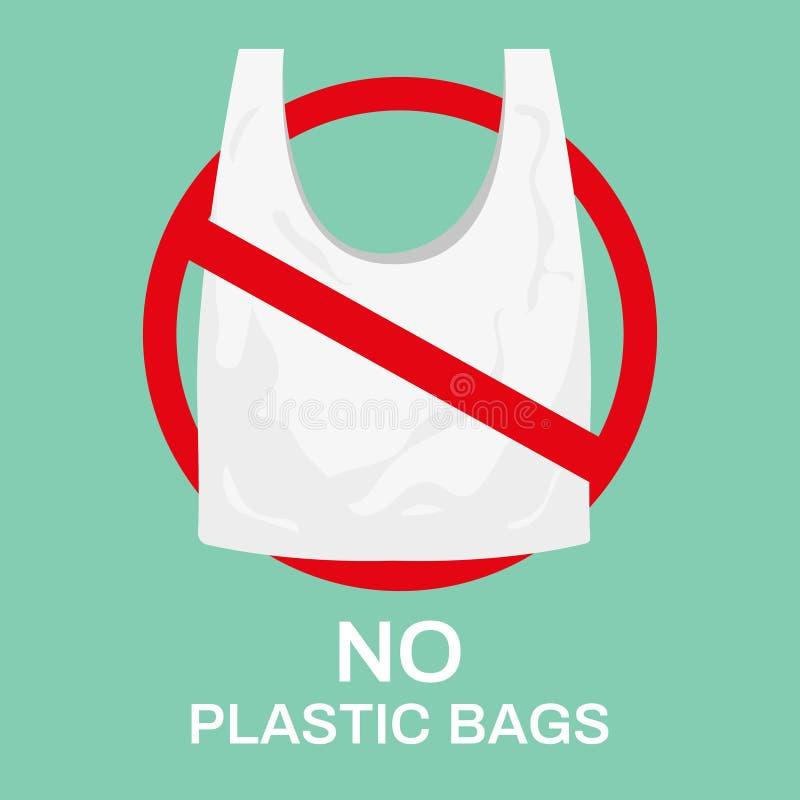 Aucun sachets en plastique Sac à provisions d'Eco, marché réutiliser des sacs et cesser d'employer l'illustration de vecteur de p illustration de vecteur