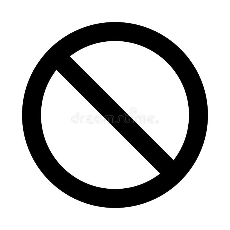Aucun signe, conception de symbole d'interdiction d'isolement sur le fond blanc illustration stock