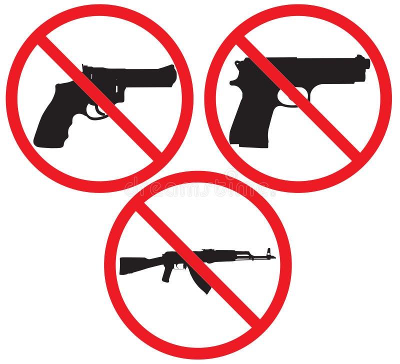 Aucun signe d'arme à feu illustration stock