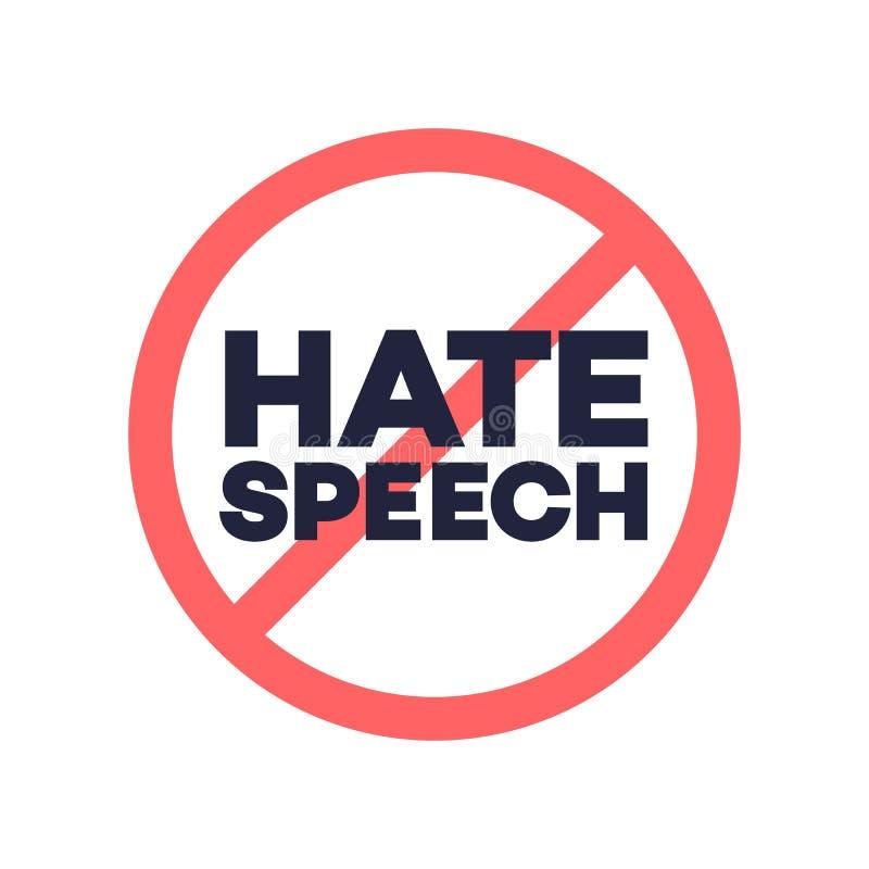 Aucun signe de la parole de haine illustration stock
