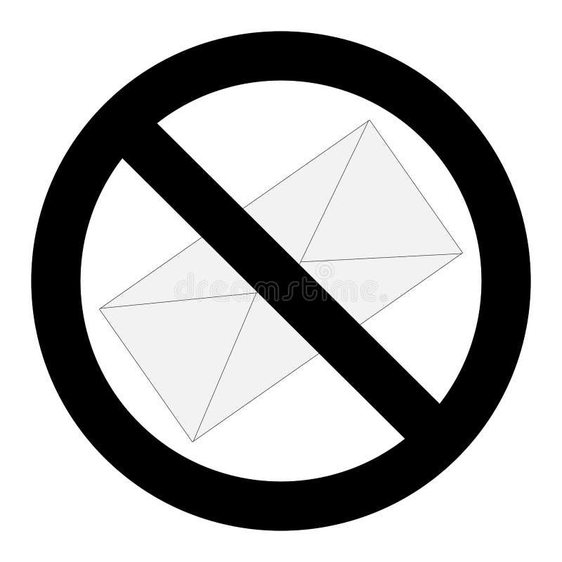 Aucun signe de lettre de Spam illustration libre de droits