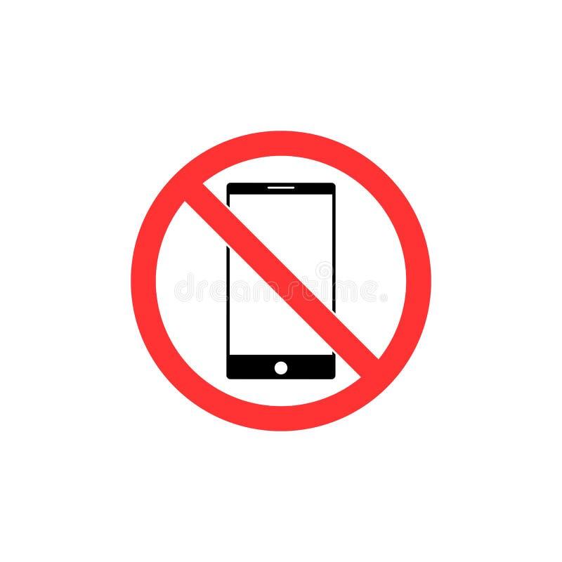Aucun signe de smartphone Conception plate Aucune icône de téléphone Illustration de vecteur illustration stock