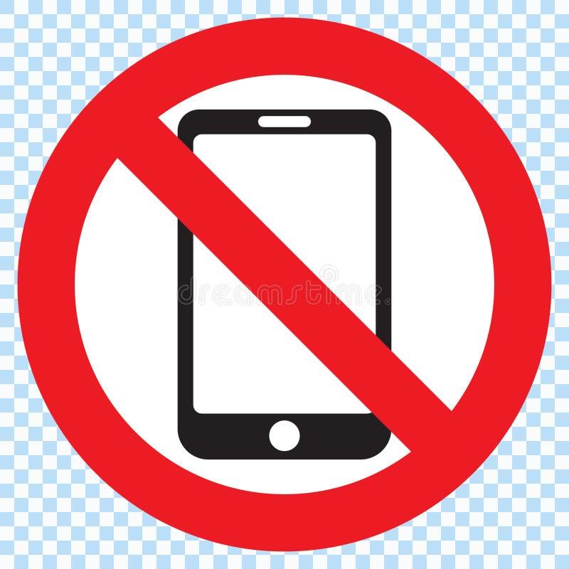 Aucun signe de téléphone portable illustration stock