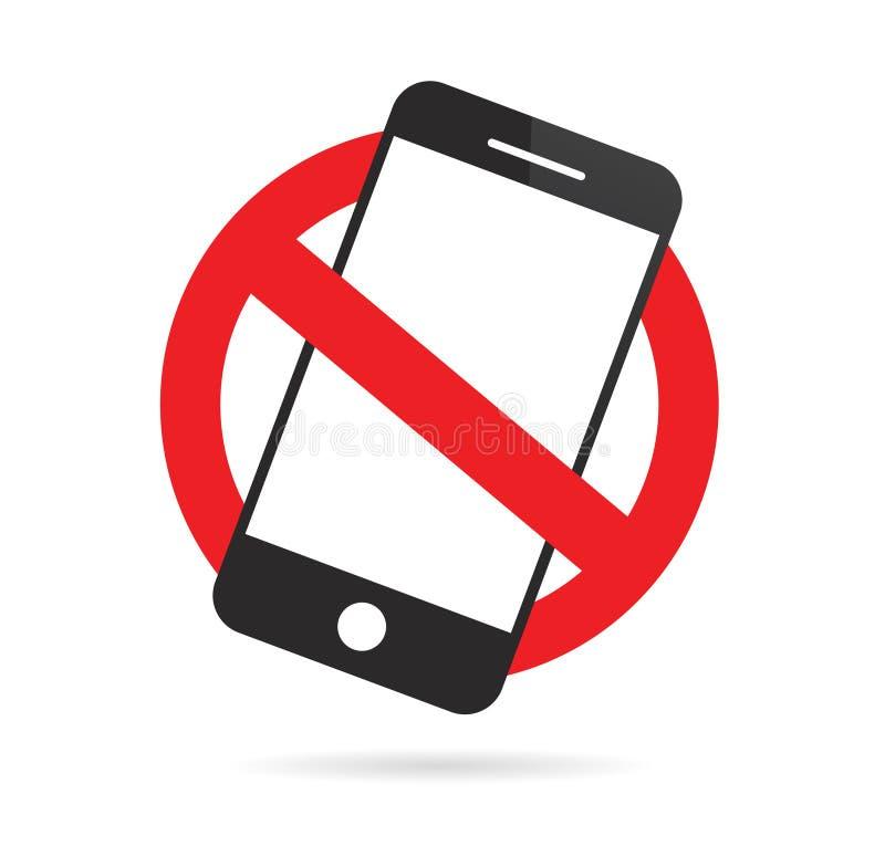 Aucun signe de t?l?phone portable T?l?phone portable interdit Illustration de vecteur illustration libre de droits