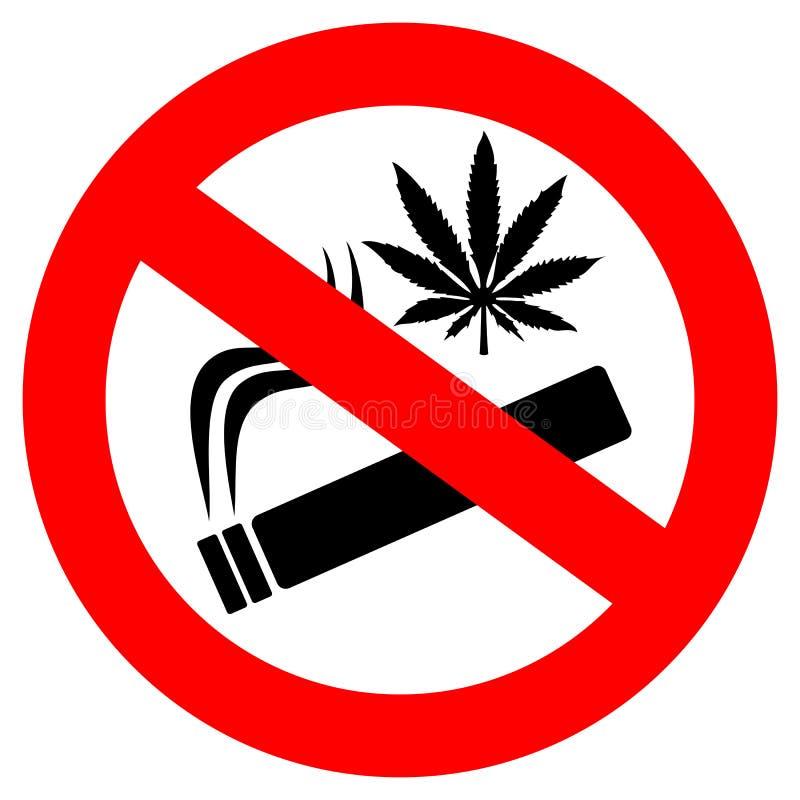 Aucun signe de tabagisme de marijuana illustration stock
