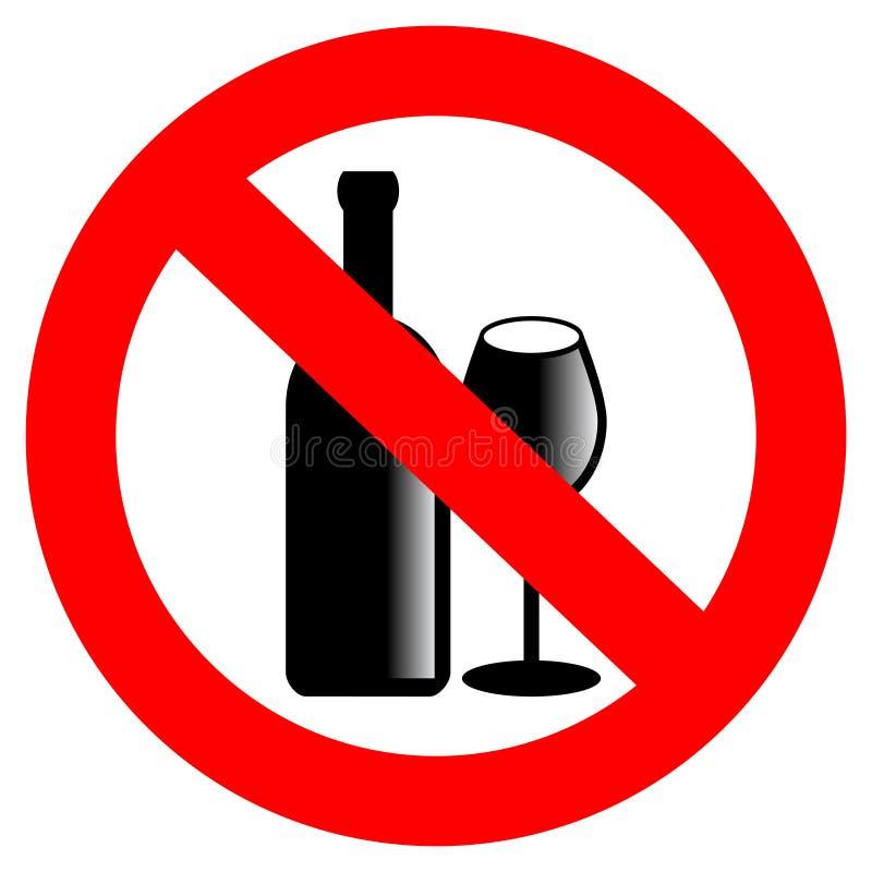 Aucun signe de vecteur d'alcool illustration stock