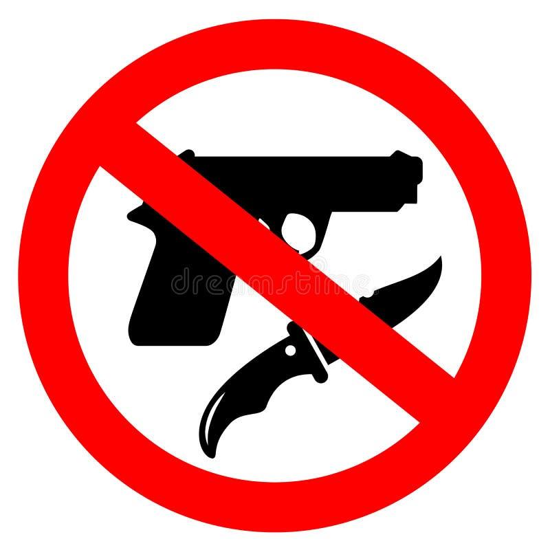 Aucun signe de vecteur d'arme illustration stock
