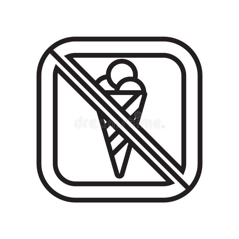Aucun signe et symbole de vecteur d'icône de crème glacée d'isolement sur le fond blanc, aucun concept de logo de crème glacée  illustration de vecteur