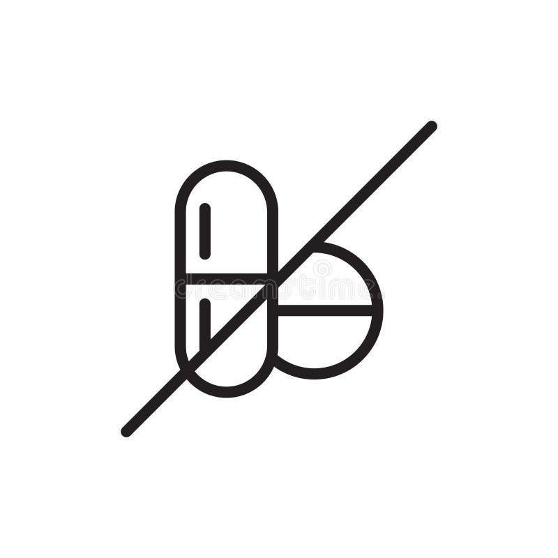 Aucun signe et symbole de vecteur d'icône de drogues d'isolement sur le fond blanc, aucun concept de logo de drogues illustration stock
