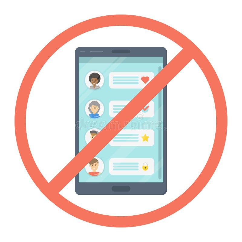 Aucun signe rouge de smartphone Téléphone portable derrière le signe interdit illustration stock