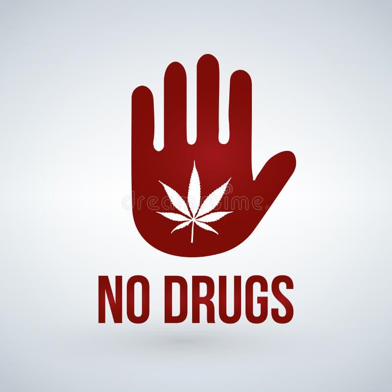 Aucun symbole de drogues marijuana en main Roue dentée illustration libre de droits