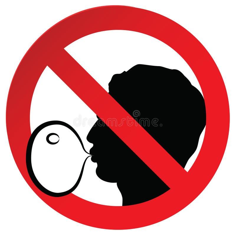 Aucun symbole interdit de chewing-gum ne se connectent l'autocollant de papier, illustration de vecteur contre souffler un bubble illustration de vecteur
