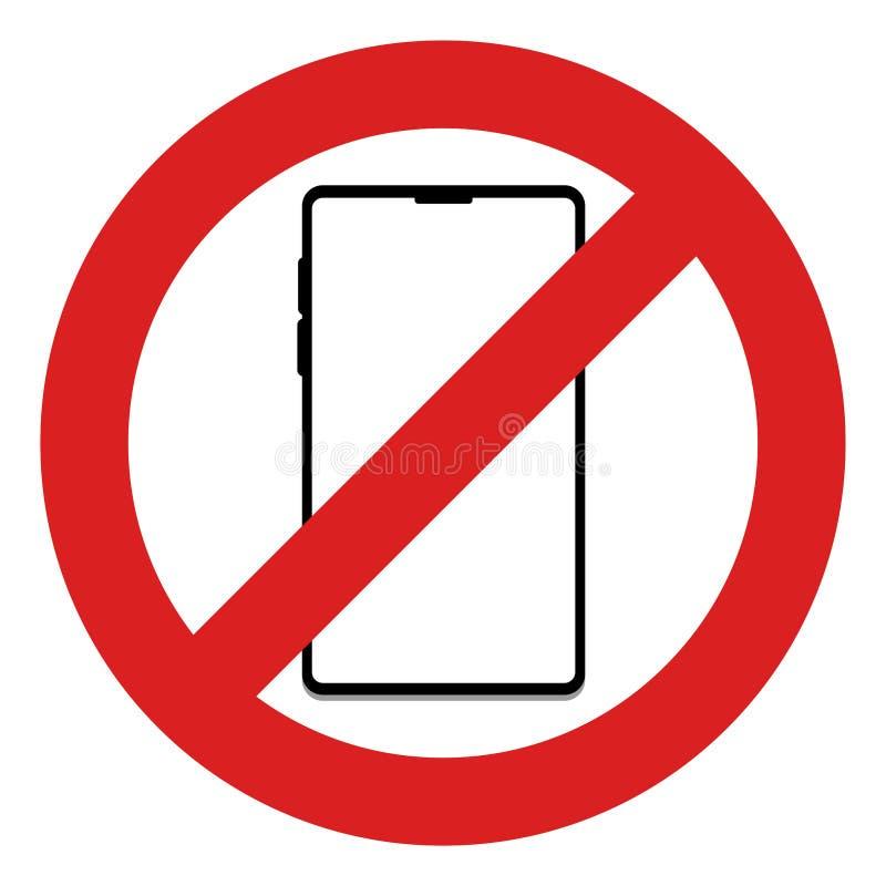 Aucun téléphone portable dans ce signe de secteur illustration de vecteur