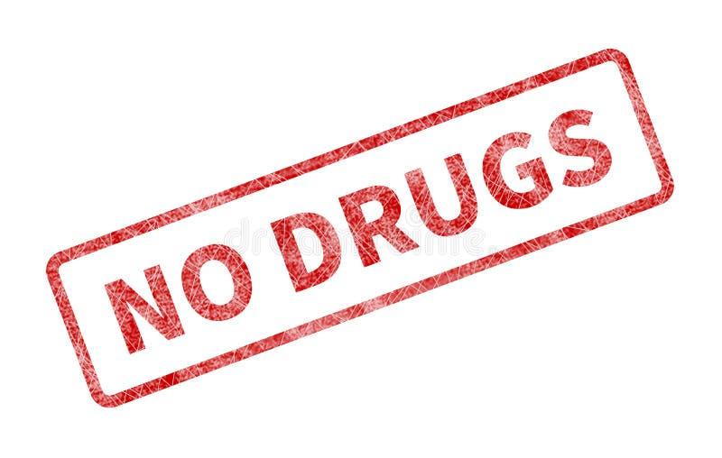 Aucun timbre de drogues - joint grunge rouge illustration stock