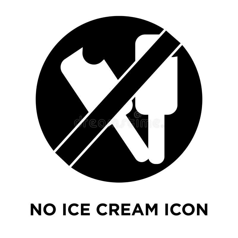 Aucun vecteur d'icône de crème glacée d'isolement sur le fond blanc, logo concentré illustration stock