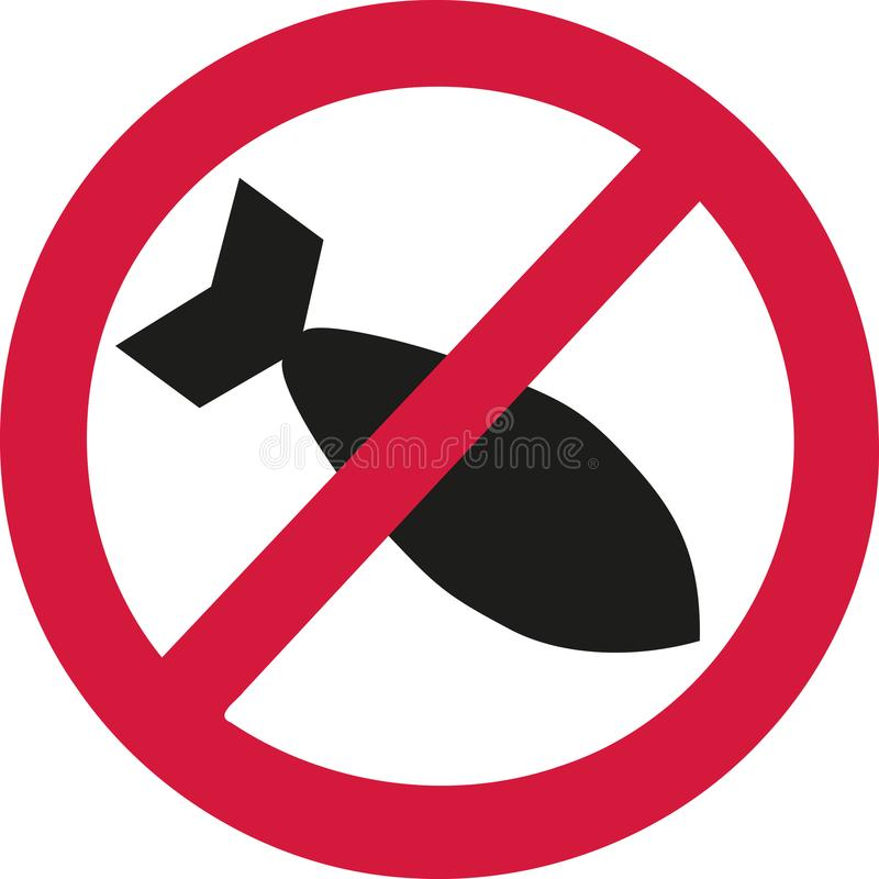 Aucune bombes d'air dans le signe d'interdiction illustration de vecteur