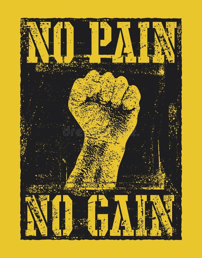 Aucune douleur aucun gain avec la main de poing illustration stock