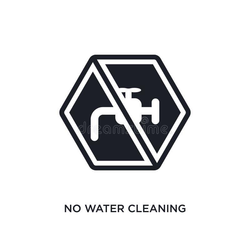 aucune eau nettoyant l'icône d'isolement illustration simple d'élément des icônes de nettoyage de concept aucune eau nettoyant le illustration libre de droits