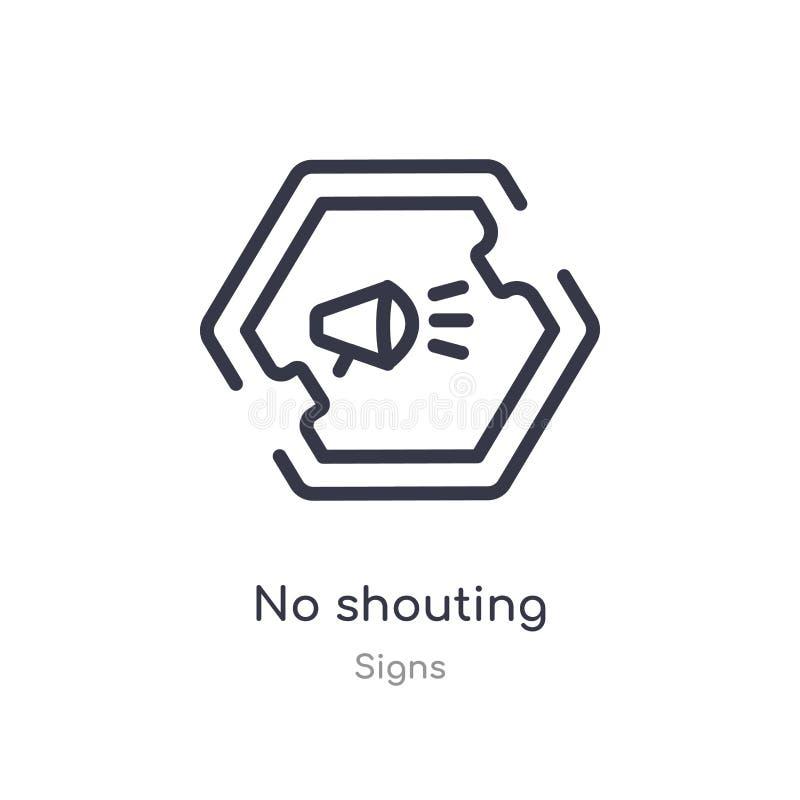aucune icône de cri d'ensemble ligne d'isolement illustration de vecteur de collection de signes course mince editable aucune icô illustration libre de droits