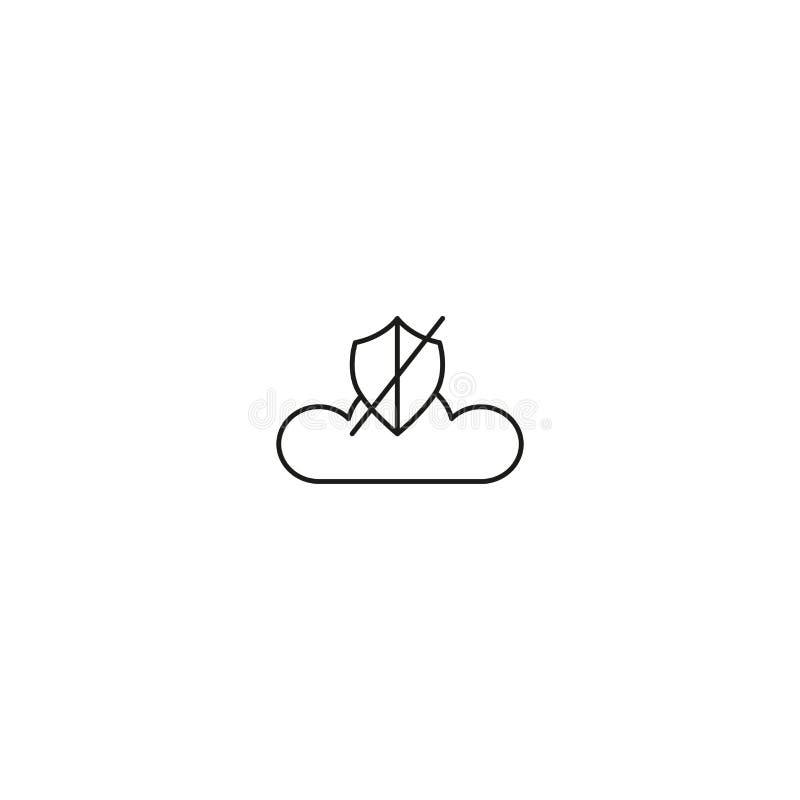 aucune icône de sécurité de nuage illustration stock