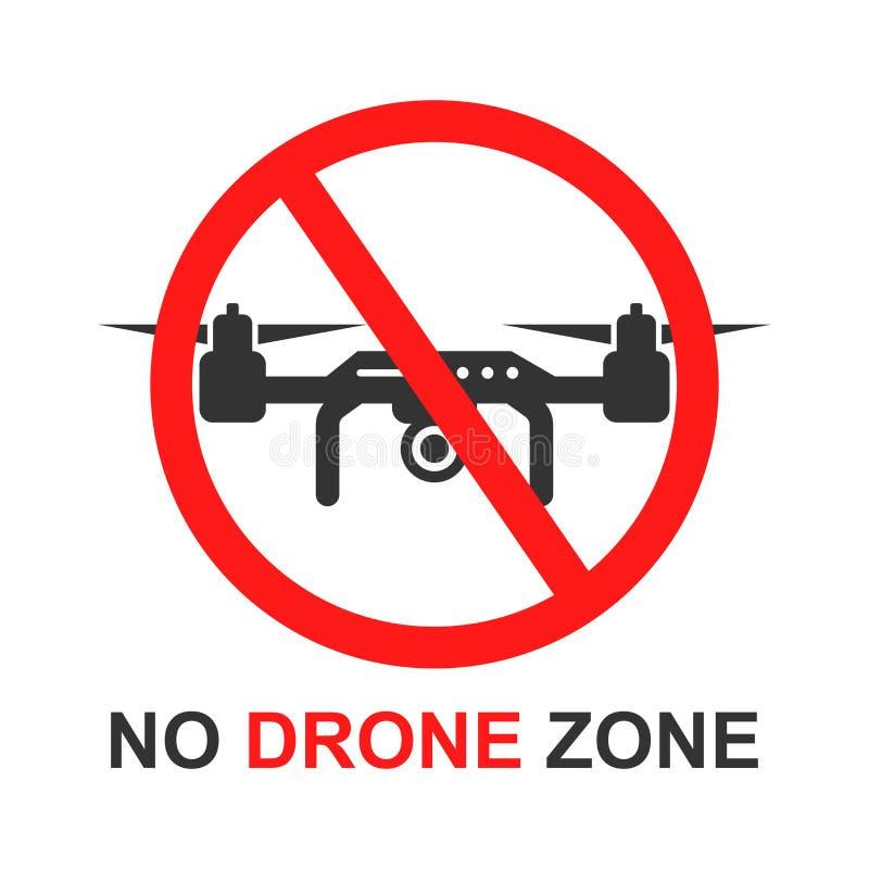 Aucune icône de signe de zone de bourdon dans le style plat Illustration de vecteur d'interdiction de Quadrocopter sur le fond d' illustration libre de droits