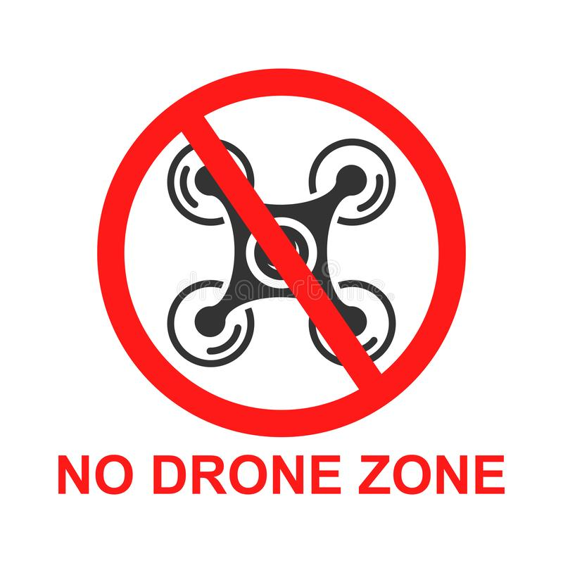 Aucune icône de signe de zone de bourdon dans le style plat Illustration de vecteur d'interdiction de Quadrocopter sur le fond d' illustration stock