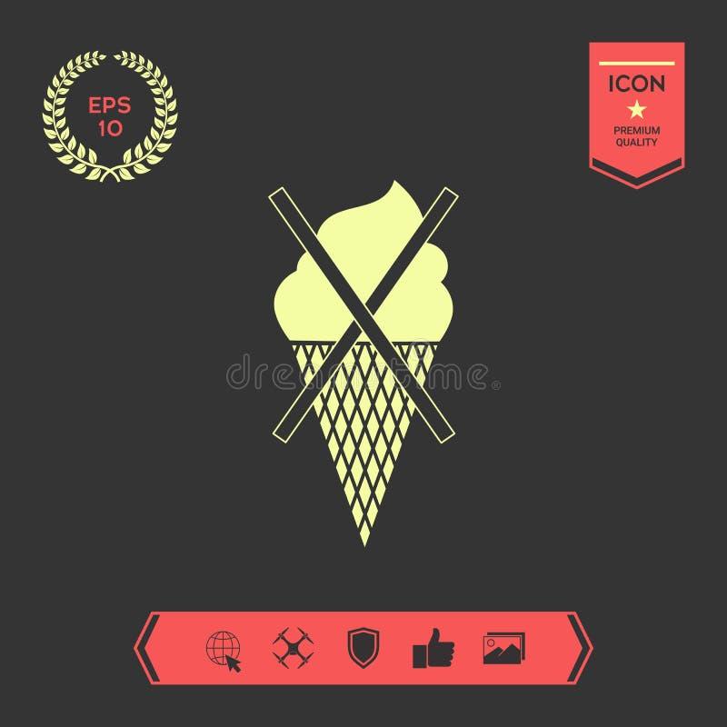 Aucune icône de symbole de crème glacée  Éléments graphiques pour votre conception illustration de vecteur