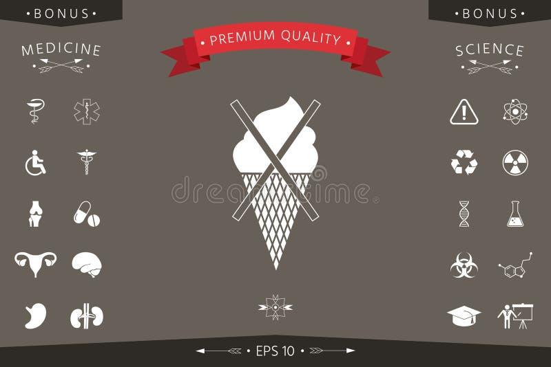 Aucune icône de symbole de crème glacée  illustration de vecteur