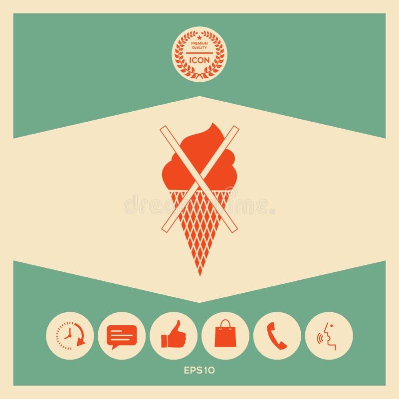 Aucune icône de symbole de crème glacée  illustration libre de droits