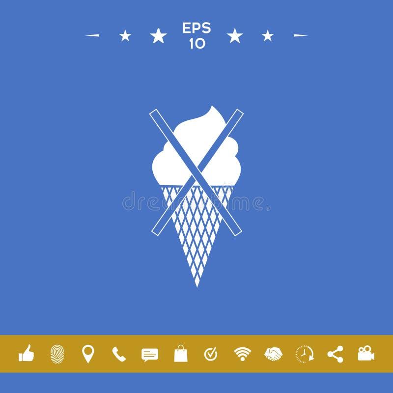 Aucune icône de symbole de crème glacée  illustration stock