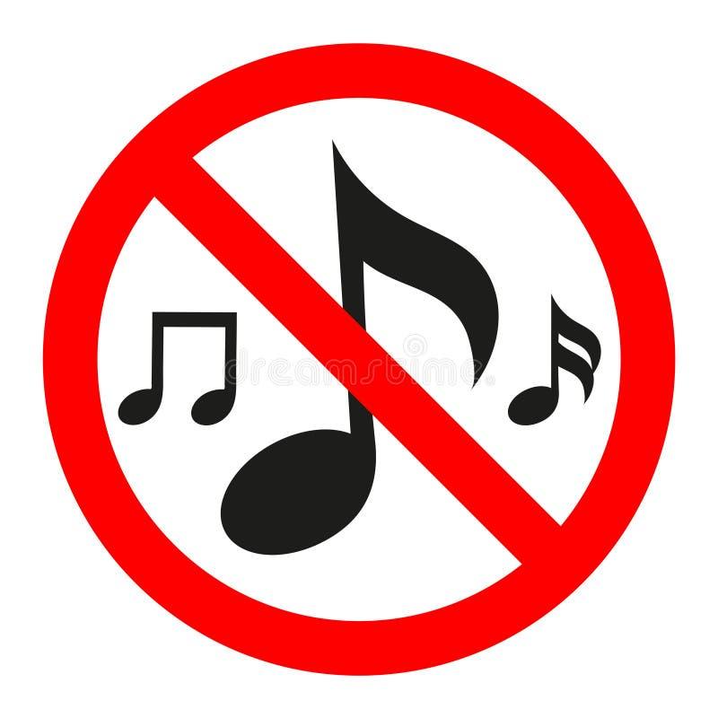 Aucune icône de symbole de signe de bruit de musique sur le fond transparent blanc illustration de vecteur